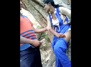 Indian virgin duo drilling in jungle