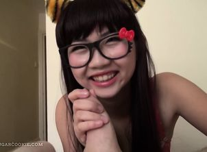 Japanese maiden gives a bj in tiger ears