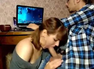 Russian coed doing oral pleasure for..